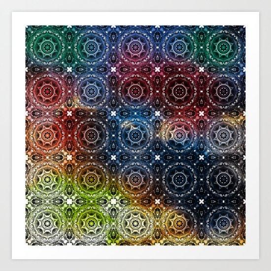 Tiled mandalas in vivid colors Art Print