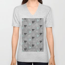 60ies - Black abstract triangle pattern on concrete - Mix&Match with Simplicty of life Unisex V-Neck