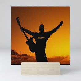 Sunset Guitar Man Silhouette Mini Art Print