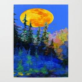 FULL MOON OVER BLUE MOUNTAIN FOREST DESIGN Poster
