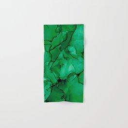 Deep Green Abstract: Original Alcohol Ink Painting Hand & Bath Towel