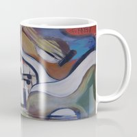 picasso Mugs featuring Picasso Guitar by Artist Fran Doll
