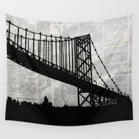 newspaper Wall Tapestries featuring News Feed , Newspaper Bridge Collage, night silhouette cityscape news paper cutout, black and white  by Irene's Goodies
