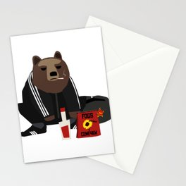 Smoking Gopnik slav bear wearing ushanka squat on the street with semechki and vodka Stationery Cards