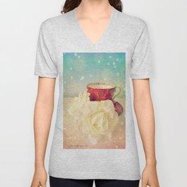 Red Teacup with White Roses Unisex V-Neck