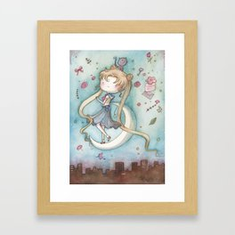 Moon Bunny Framed Art Print