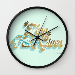 Zero F*cks Given – Powder Blue & Gold Palette Wall Clock
