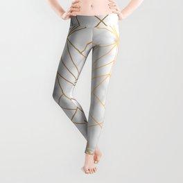 Geometric Gold Pattern on Marble Texture Leggings