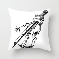 violin Throw Pillows featuring Violin by Azure Cricket