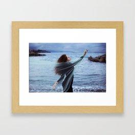 Woman on the sea Framed Art Print