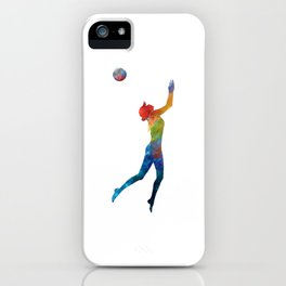 Woman beach volley ball player 01 in watercolor iPhone Case