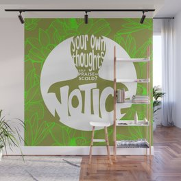 Notice – Lime (Lotus Pattern) Wall Mural