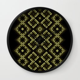 Fiery ancient ornament. Old Nordic embroidery in a psychedelic modern style Wall Clock
