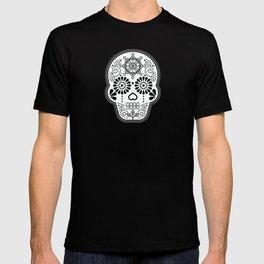Día de Muertos Calavera • Mexican Sugar Skull – White on Black Palette T-shirt