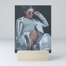Silver High Heel Shoes, Fashion Girl Posing, Urban Hipster Style, Sweet Pastel Colors, Sunglasses, D Mini Art Print