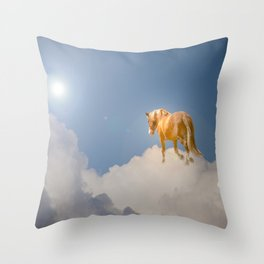 Walking on clouds over the blue sky Throw Pillow