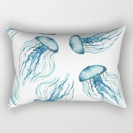Watercolor Aqua Jellyfish Rectangular Pillow