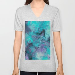 Abstract lilac teal aqua watercolor pattern Unisex V-Neck