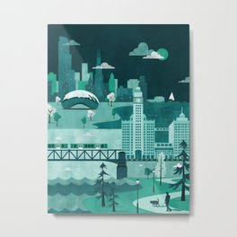 Chicago Travel Poster Illustration Metal Print