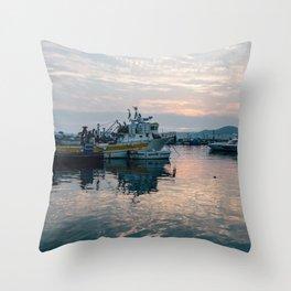 Mediterranean Harbor at Sunset Throw Pillow