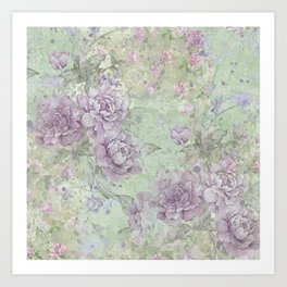 Shabby Chic Floral Collage - Lavender Roses Art Print