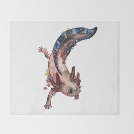 Cherry Blossom Axolotl Watercolor Artwork Throw Blanket