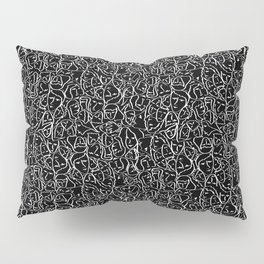 Mini Elio Ink Shirt Faces in White Outlines on Black CMBYN Pillow Sham