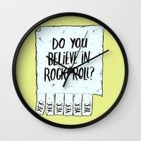 rock and roll Wall Clocks featuring Believe in Rock & Roll by Josh LaFayette