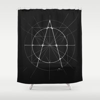 anarchy Shower Curtains featuring XXIst Century Anarchy Monochrome by Lovedart