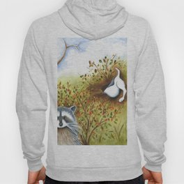 Silly Dog  Jack Russell Terrier, Raccoon, Landscape Painting, Original Art Hoody