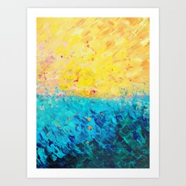 THE DIVIDE - Stunning Bold Colors, Ocean Waves Sun, Modern Beach Chic Theme Abstract Painting Art Print