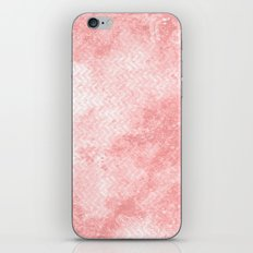 Rose quartz chevron pattern with grunge texture iPhone Skin