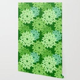 Modern Floral Kimono Print, Lime Green Wallpaper
