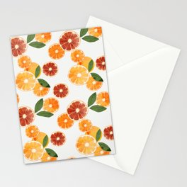 sliced oranges and spring watercolor Stationery Cards