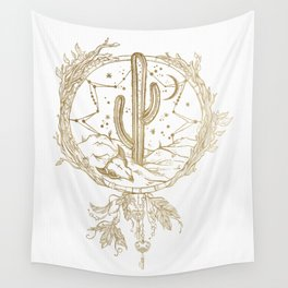 Desert Cactus Dreamcatcher in Gold Wall Tapestry