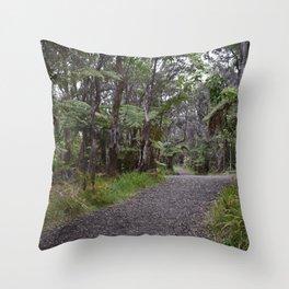 Tourist pathway in Volcano Big Island of Hawaii Throw Pillow