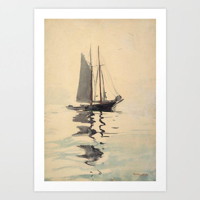 Vintage Schooner Sailboat Watercolor Painting (1894) Kunstdrucke
