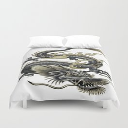 Lucky Chinese Dragon In Grey and Gold Duvet Cover