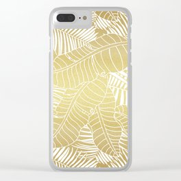 Golden tropical leaves Clear iPhone Case
