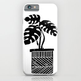 Linocut cheese plant monstera tropical leaf lino print black and white illustration art home dorm  iPhone Case