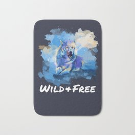 Wild and Free - Wolf illustration, quote Bath Mat