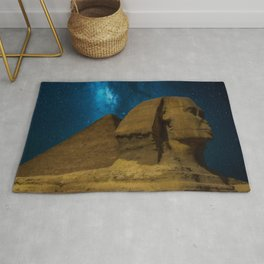 'Great Sphinx and Giza Egyptian Pyramids Of Giza' star-gazing landscape painting Rug