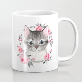Gray cat with flowers. Watercolor Coffee Mug