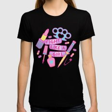 Girl Fighter Black Womens Fitted Tee SMALL