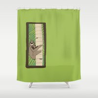 climbing Shower Curtains featuring Climbing Sloth by Chris Talbot-Heindl