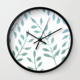 Blue and Green Fronds Wall Clock