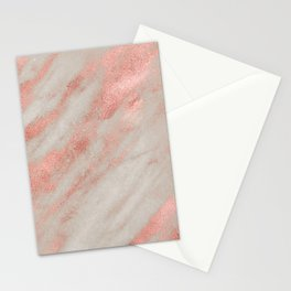 Marble Rose Gold White Marble Foil Shimmer Stationery Cards