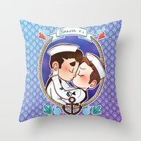 klaine Throw Pillows featuring Sailor by Sunshunes
