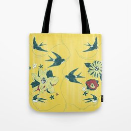 swallows and flowers Tote Bag