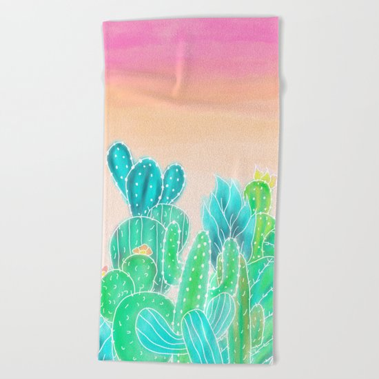 Modern tropical exotic summer cactus illustration pink ombre watercolor Beach Towel